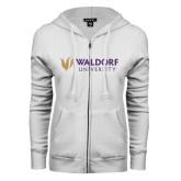ENZA Ladies White Fleece Full Zip Hoodie-Waldorf University Academic Mark Flat