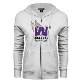ENZA Ladies White Fleece Full Zip Hoodie-W Waldorf Warriors