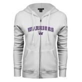 ENZA Ladies White Fleece Full Zip Hoodie-Arched Warriors w/ Waldorf W