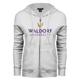 ENZA Ladies White Fleece Full Zip Hoodie-Waldorf University Academic Mark Stacked