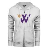 ENZA Ladies White Fleece Full Zip Hoodie-Waldorf W Academic Mark