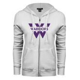 ENZA Ladies White Fleece Full Zip Hoodie-W Warriors