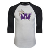 White/Black Raglan Baseball T-Shirt-Waldorf W