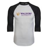 White/Black Raglan Baseball T-Shirt-Waldorf University Academic Mark Flat