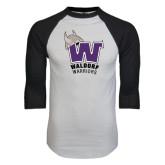 White/Black Raglan Baseball T-Shirt-W Waldorf Warriors
