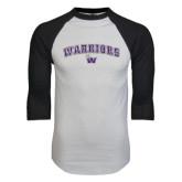 White/Black Raglan Baseball T-Shirt-Arched Warriors w/ Waldorf W