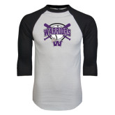 White/Black Raglan Baseball T-Shirt-Softball Bats and Plate Design