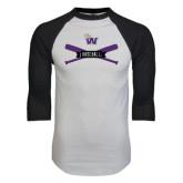 White/Black Raglan Baseball T-Shirt-Baseball Crossed Bats Design
