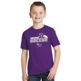 Youth Purple T Shirt-Soccer Swoosh Design
