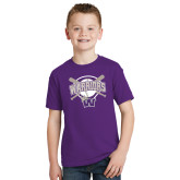 Youth Purple T Shirt-Softball Bats and Plate Design