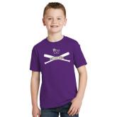 Youth Purple T Shirt-Baseball Crossed Bats Design