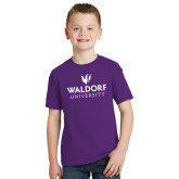 Youth Purple T Shirt-Waldorf University Academic Mark Stacked