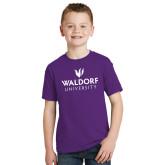 Youth Purple T Shirt-Waldorf University Academic Mark Stacked