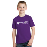 Youth Purple T Shirt-Waldorf University Academic Mark Flat
