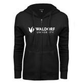 ENZA Ladies Black Fleece Full Zip Hoodie-Waldorf University Academic Mark Flat