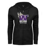 ENZA Ladies Black Fleece Full Zip Hoodie-W Waldorf Warriors