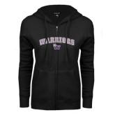 ENZA Ladies Black Fleece Full Zip Hoodie-Arched Warriors w/ Waldorf W