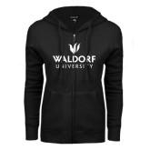 ENZA Ladies Black Fleece Full Zip Hoodie-Waldorf University Academic Mark Stacked