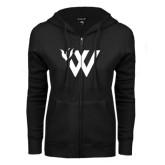 ENZA Ladies Black Fleece Full Zip Hoodie-Waldorf W Academic Mark