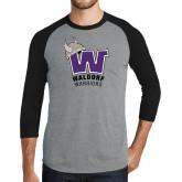 Grey/Black Tri Blend Baseball Raglan-W Waldorf Warriors