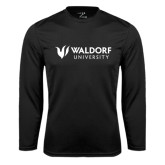 Performance Black Longsleeve Shirt-Waldorf University Academic Mark Flat