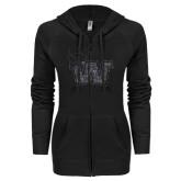 ENZA Ladies Black Light Weight Fleece Full Zip Hoodie-Waldorf W