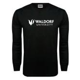 Black Long Sleeve TShirt-Waldorf University Academic Mark Flat