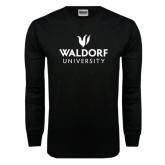 Black Long Sleeve TShirt-Waldorf University Academic Mark Stacked