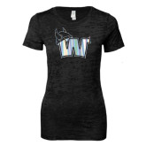 Next Level Ladies Junior Fit Black Burnout Tee-Waldorf W Foil