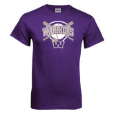 Purple T Shirt-Softball Bats and Plate Design