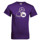 Purple T Shirt-Peace, Love and Volleyball Design