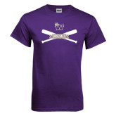 Purple T Shirt-Baseball Crossed Bats Design