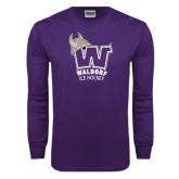 Purple Long Sleeve T Shirt-Hockey