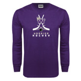Purple Long Sleeve T Shirt-Hockey Sticks Design