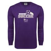 Purple Long Sleeve T Shirt-Soccer Swoosh Design