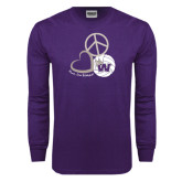 Purple Long Sleeve T Shirt-Peace, Love and Volleyball Design