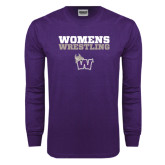 Purple Long Sleeve T Shirt-Womens Wrestling Stacked