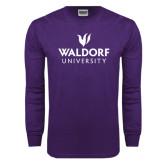 Purple Long Sleeve T Shirt-Waldorf University Academic Mark Stacked