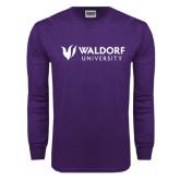 Purple Long Sleeve T Shirt-Waldorf University Academic Mark Flat