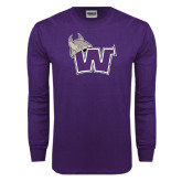 Purple Long Sleeve T Shirt-Waldorf W Distressed