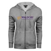 ENZA Ladies Grey Fleece Full Zip Hoodie-Waldorf University Academic Mark Flat