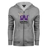 ENZA Ladies Grey Fleece Full Zip Hoodie-W Waldorf Warriors