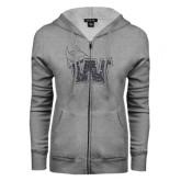 ENZA Ladies Grey Fleece Full Zip Hoodie-Waldorf W