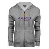 ENZA Ladies Grey Fleece Full Zip Hoodie-Waldorf University Academic Mark Stacked