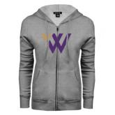 ENZA Ladies Grey Fleece Full Zip Hoodie-Waldorf W Academic Mark
