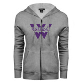 ENZA Ladies Grey Fleece Full Zip Hoodie-W Warriors