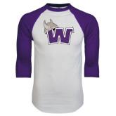 White/Purple Raglan Baseball T Shirt-Waldorf W