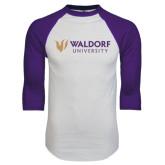 White/Purple Raglan Baseball T Shirt-Waldorf University Academic Mark Flat
