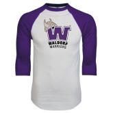 White/Purple Raglan Baseball T Shirt-W Waldorf Warriors