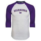 White/Purple Raglan Baseball T Shirt-Arched Warriors w/ Waldorf W